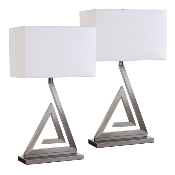 Miya Brushed Chrome With White Rectangle Fabric Shade Modern Bedroom, Bedside, Desk, Bookcase, Living Room Table Lamps (Set Of 2) - Pilaster Designs