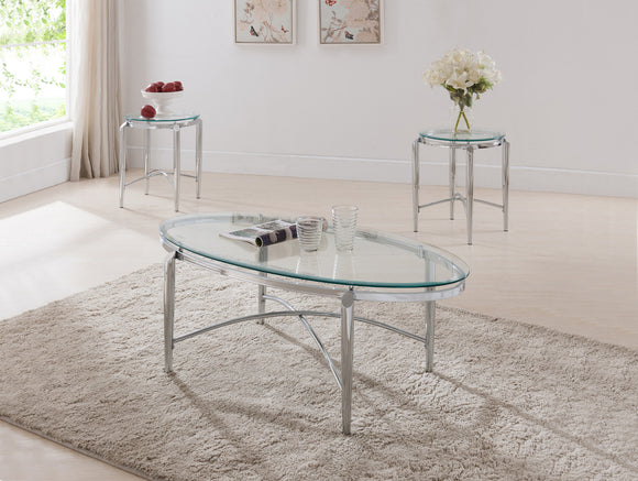 Jada 3 Piece Chrome Metal & Glass Top Occasional Cocktail Coffee & 2 End Tables Set - Pilaster Designs