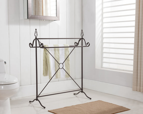 Bronze Metal Free Standing Kitchen & Bathroom Towel & Quilt Rack Stand Organizer (3 Bars) - Pilaster Designs