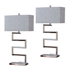 Sylvie Table Lamp Set, Chrome Stainless Steel & Silver Fabric