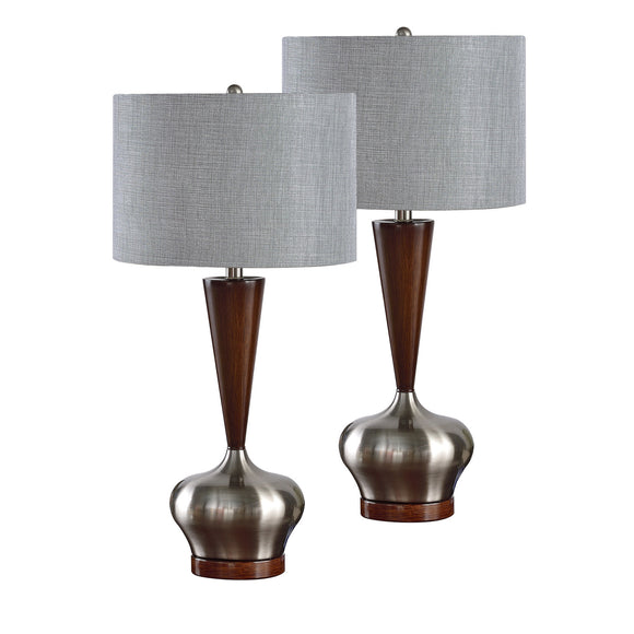 Ayana Brushed Nickel Walnut With Silver Fabric Drum Shade Contemporary Bedroom, Bedside, Desk, Bookcase, Living Room Table Lamps (Set Of 2) - Pilaster Designs