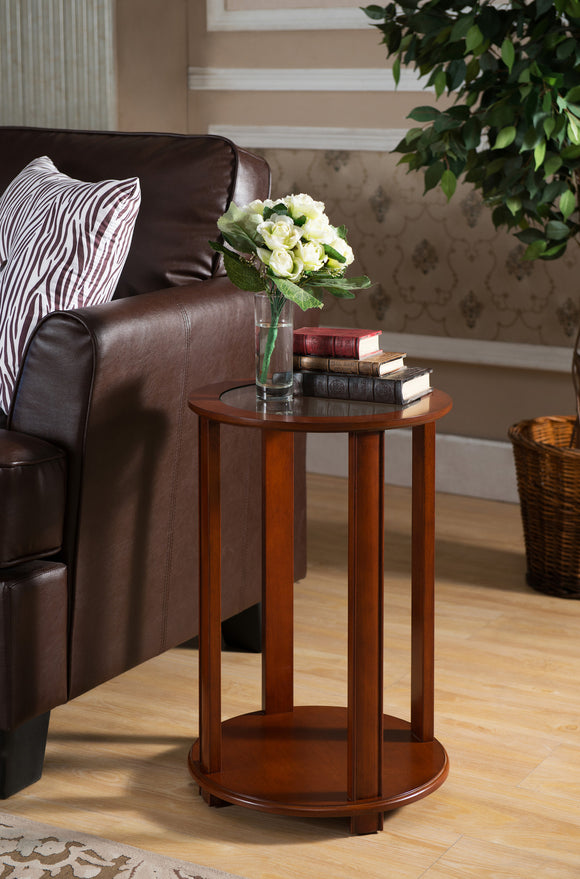 Taima Side Table, Walnut Wood & Glass