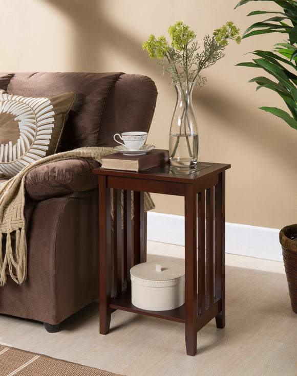 Trina Side Table, Walnut Wood & Tempered Glass