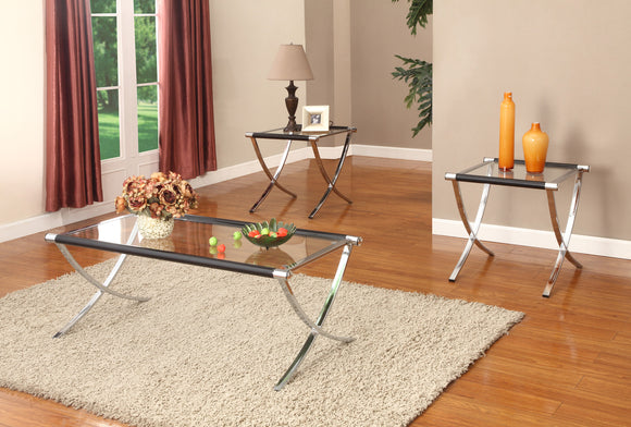 Peggie 3 Piece Coffee Table Set, Chrome Metal & Tempered Glass