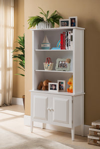 Daren Cabinet Bookcase, White Wood