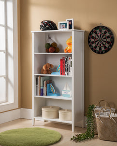 Daren 4 Tier Bookcase, White Wood