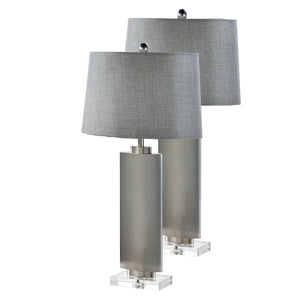 Rhea Table Lamp Set, Brushed Chrome Metal & Silver Fabric