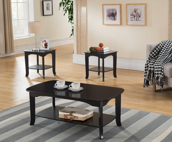 Carter 3 Piece Espresso Wood Contemporary Occasional Cocktail Coffee & 2 End Tables Set - Pilaster Designs