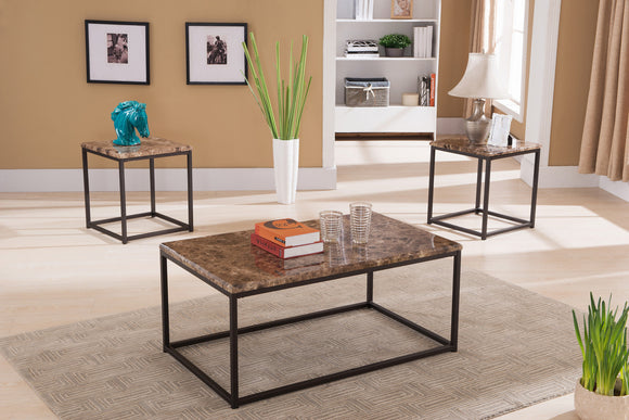 Jaina 3 Piece Bronze Metal & Faux Marble Top Occasional Cocktail Coffee & 2 End Tables Set - Pilaster Designs
