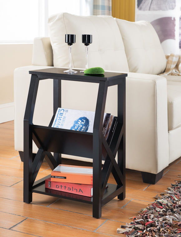 Black Wood Side End Table With Magazine Rack & Storage Shelves - Pilaster Designs