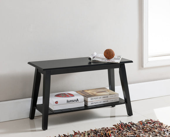 Black Wood Contemporary Entryway Shoe Bench Display With Storage Shelf - Pilaster Designs