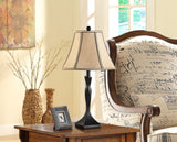 Alianna Brushed Black With Light Brown Fabric Bell Shade Traditional Bedroom, Bedside, Desk, Bookcase, Living Room Table Lamps (Set Of 2) - Pilaster Designs