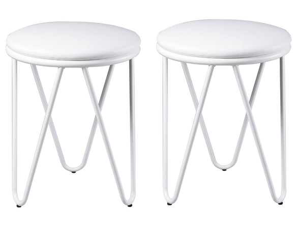 Joelle Bar Stools, White Vinyl & Metal