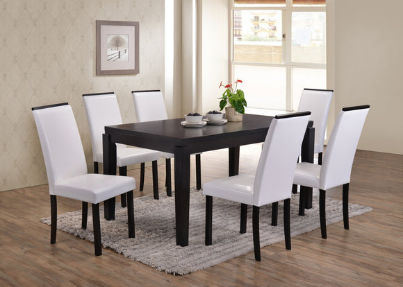 7 Piece Cappuccino Wood Rectangle Kitchen Dinette Dining Table & 6 White Upholstered Parsons Side Chairs Set - Pilaster Designs