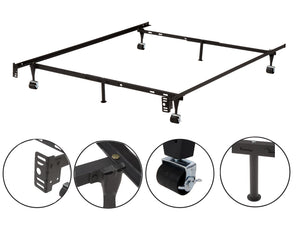 Metal Adjustable Queen, Full, Full XL, Twin, Twin XL, Heavy Duty Bed Frame With 6 Legs, 2 Center Support, 2 Rug Rollers and 2 Locking Wheels - Pilaster Designs