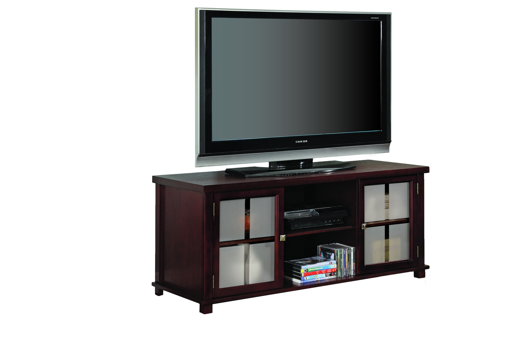 47 Cherry Wood Entertainment Center Tv Console Stand With Frosted