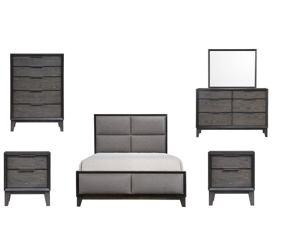Consuelo 6 Piece Upholstered Bedroom Set, Queen, Gray Wood