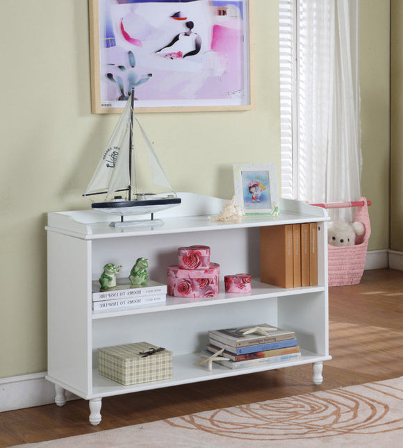 Marie 3 Tier Bookcase, White Wood