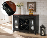 Paul Bar Cabinet, Black & Walnut Wood