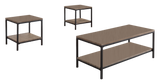 Kinley 3 Piece Gray Wood & Black Metal Frame Modern Storage Occasional Table Set (Cocktail Coffee & 2 End Tables) - Pilaster Designs