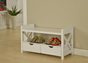 Cherry or White Wood Shoe Bench Display With Storage Shelves & Drawers - Pilaster Designs