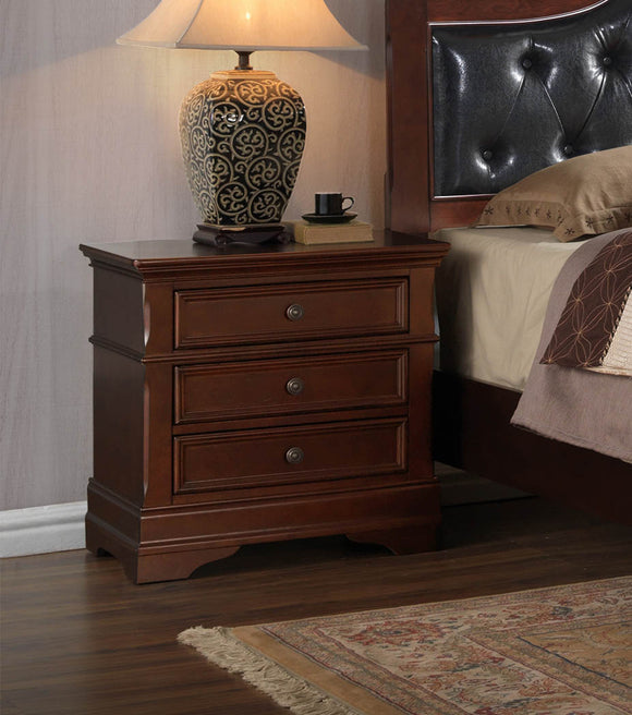 Antique Brown Wood Traditional 3 Drawer Storage Bedroom Nightstand Bedside Table - Pilaster Designs