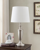 Azaria Brushed Nickel With White Empire Fabric Shade Contemporary Bedroom, Bedside, Desk, Bookcase, Living Room Table Lamps (Set Of 2) (Sense Touch Switch) - Pilaster Designs