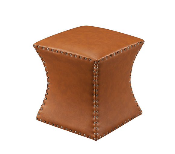 Rylen Ottoman Footstool, Brown Faux Leather
