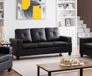 Boutwell Sofa, Black Faux Leather