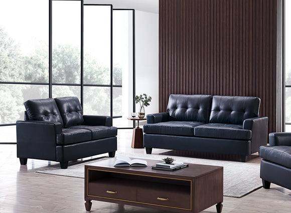 Molina 2 Piece Living Room Set, Blue Faux Leather