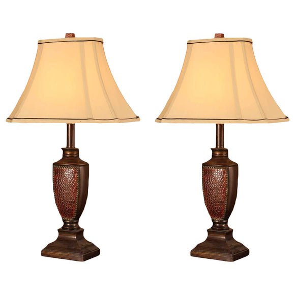 Aubri Brush Red With Light Brown Fabric Square Shade Contemporary Bedroom, Bedside, Desk, Bookcase, Living Room Table Lamps (Set Of 2) - Pilaster Designs
