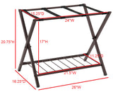 26-Inch Bronze Metal Transitional Folding Luggage Rack Organizer With Storage Shelf & Nylon Belts - Pilaster Designs