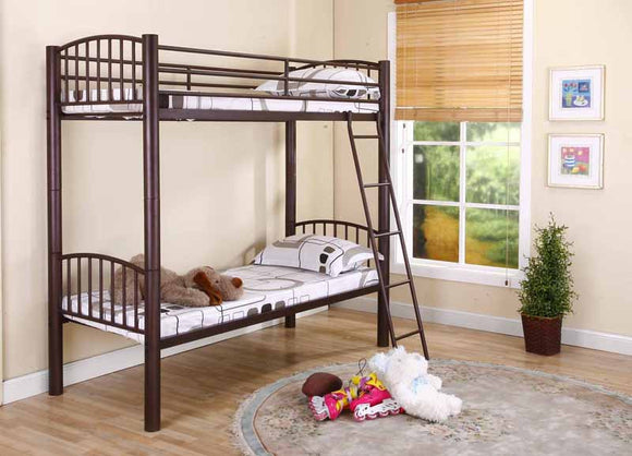 Carrie Bronze Metal Traditional Convertible Slat Bunk Bed With Guard Rails & Step Ladder (Bunkbed) (30