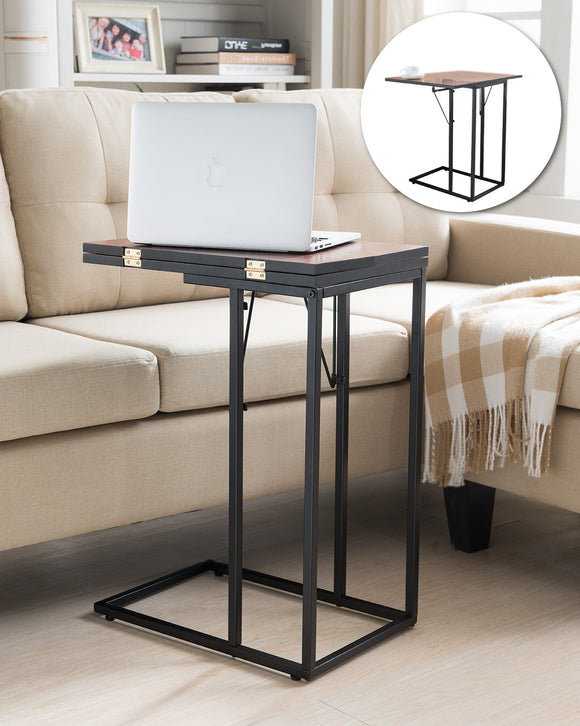 Pansy Folding Sofa Table, Black Metal & Walnut Wood