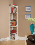 Espresso or White Wood 5 Tier Corner Wall Bookcase Storage Shelves Display Stand Cabinet Organizer - Pilaster Designs