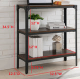 Catalina 3 Tier Bookcase, Walnut Wood & Black Metal