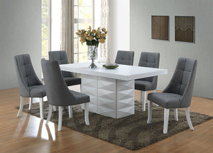 Lexie Dining Set, White Wood & Gray Vinyl