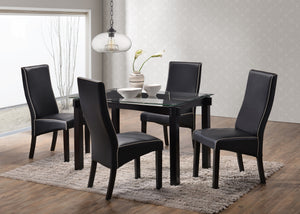 5 Piece Cappuccino Wood & Glass Kitchen Dinette Dining Table & 4 Upholstered Parsons Side Chairs (Black; White; Grey; Red) - Pilaster Designs