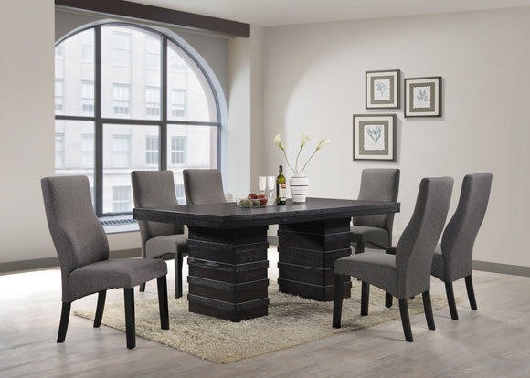 7 Piece Cappuccino Wood Rectangle Kitchen Dinette Dining Table & 6 Grey Upholstered Parsons Side Chairs Set - Pilaster Designs