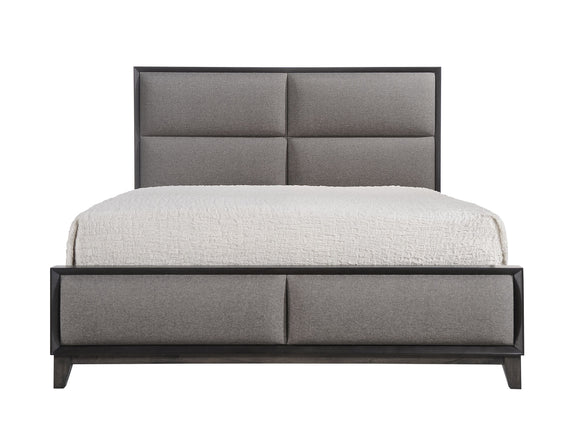 Consuelo Upholstered Panel Bed, King, Gray Wood