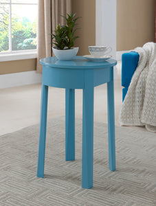 Blue Wood Kids Accent Storage Side Table With Drawer - Pilaster Designs