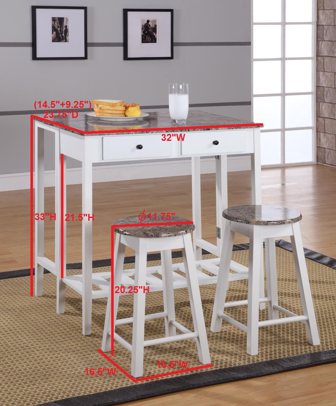 Modern Kitchen Bar Stools Kitchen Islands With Table: Rave 3 Piece Wood Contemporary Kitchen Dinette Breakfast