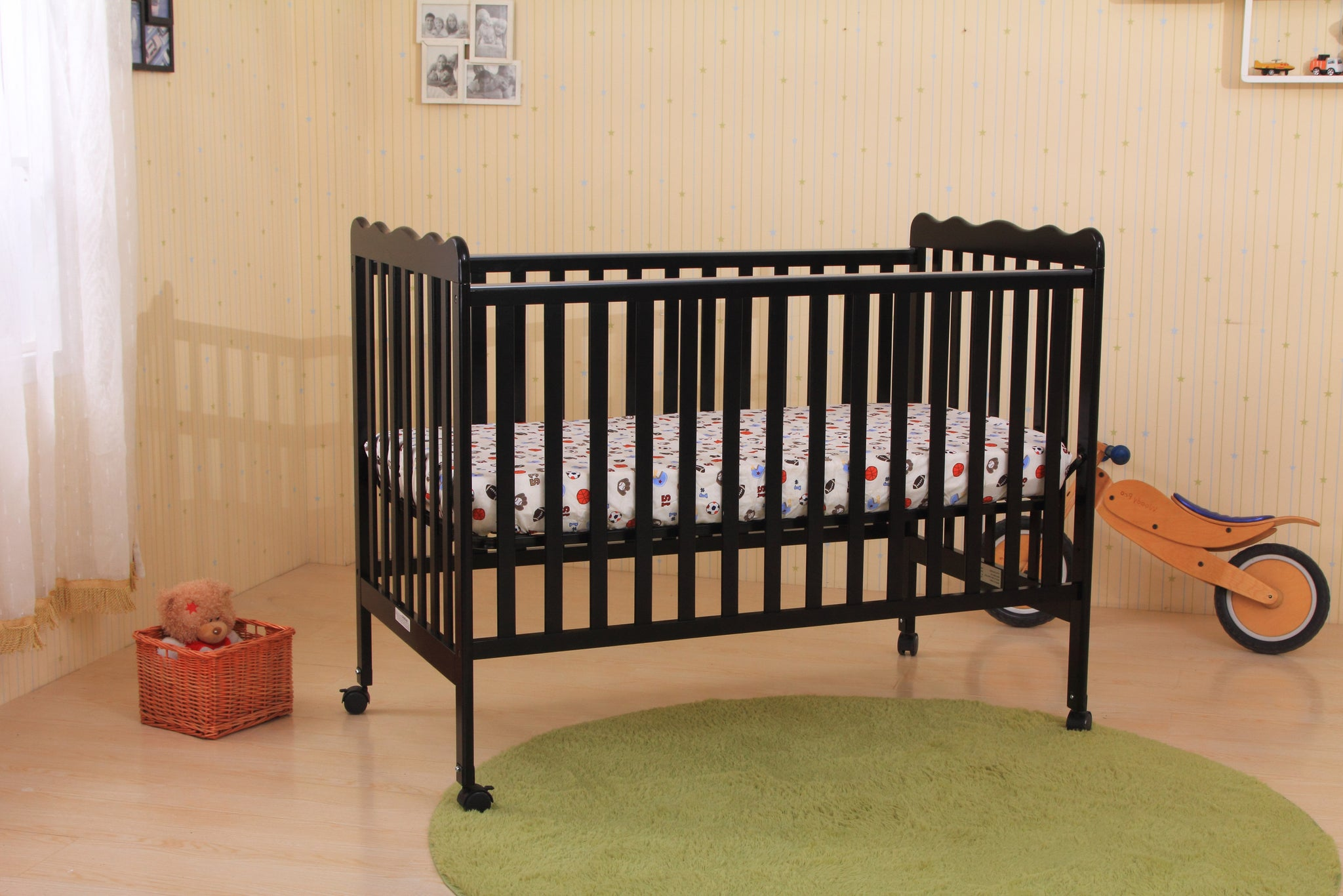 carousel designs large crib baby bedding solid black collection