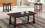 Sally 3 Piece Coffee Table Set, Black Wood