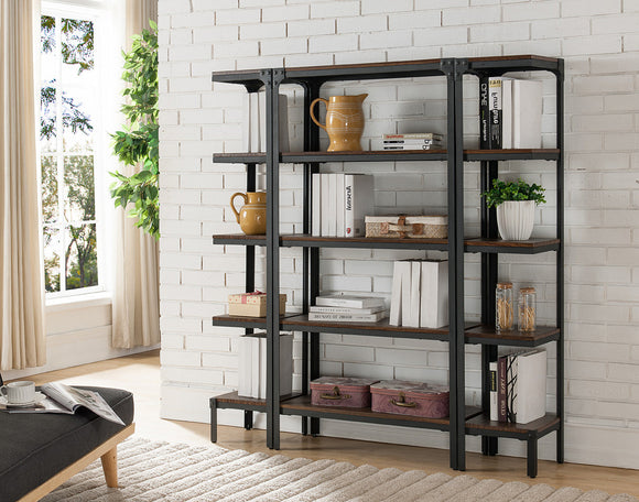 Catalina 5 Tier Bookcase Set, Walnut Wood & Black Metal