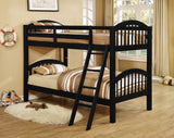 Beth Twin Size Wood Country Style Slat Bunk Bed (Arched Twin Over Twin Bunkbed) (Black, Cherry, Honey, White) - Pilaster Designs