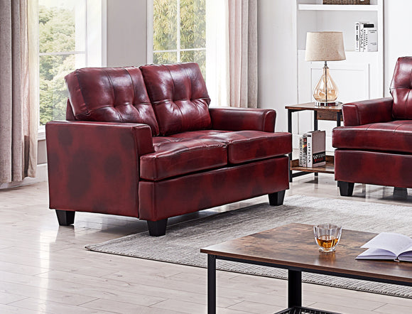 Molina Loveseat, Red Faux Leather