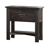 Madison Charcoal or Natural Wood Rustic Kids Bedroom Nightstand Table With Storage Drawer (KD) - Pilaster Designs
