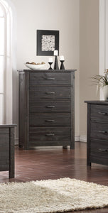 Madison Charcoal or Natural Wood 5 Drawer Rustic Kids Bedroom Chest Storage Cabinet Organizer (KD) - Pilaster Designs