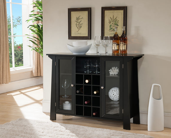 Jesse Black Wood Contemporary Wine Rack Sideboard Buffet Display Console Table With Glass Cabinet Storage Doors & Shelf - Pilaster Designs